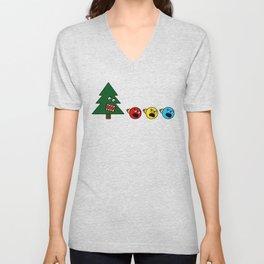 Christmas Tree Chasing Ornament Munchies Unisex V-Neck