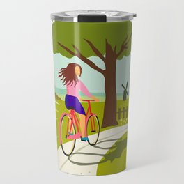 Girl Riding Bicycle Up Tree Circle Retro Travel Mug