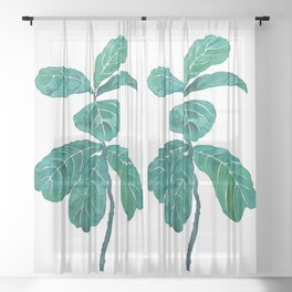 fiddle leaf fig watercolor Sheer Curtain