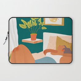 Not Today, Woman Lazy Sleepy llustration, Plant Lady At Home, Bohemian Decor Weekend Sunday Sleep In Laptop Sleeve
