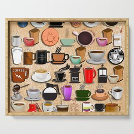 Coffee Mugs, Cups and Makers Serving Tray