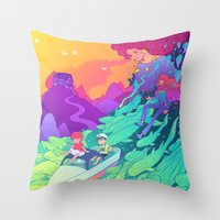 ponyo Throw Pillows featuring Ponyo by Jen Bartel