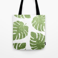 Glitter Monstera Leaves Tote Bag