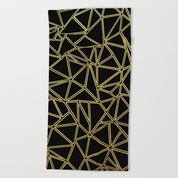 Abstract Blocks Gold Beach Towel