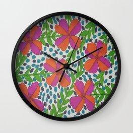 Jungle Rain Flowers Wall Clock