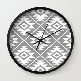 Aztec Symbol Pattern White on Gray Wall Clock