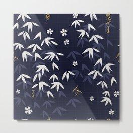 White bamboo leaves Japanese pattern Metal Print