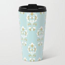Heart Damask Ptn Gold Cream Blue Travel Mug