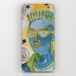 blue man with yellow rimmed glasses iPhone Skin