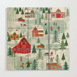 New England Christmas Wood Wall Art