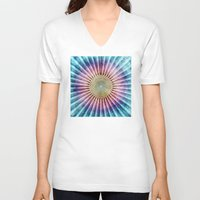 tie dye V-neck T-shirts featuring Textured Mandala Tie Dye by Phil Perkins