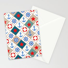 Nautical pattern . 1 Stationery Cards