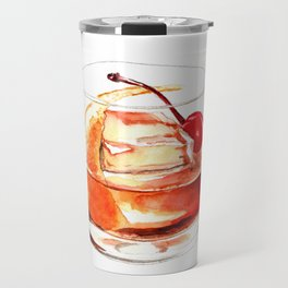 Cocktails. Old Fashioned. Watercolor Painting. Travel Mug
