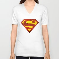 superman V-neck T-shirts featuring Superman by S.Levis