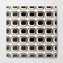 Mod 3 Retro Minimalist Pattern in Black and Almond Cream Metal Print