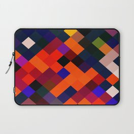 geometric square pixel pattern abstract in orange brown blue yellow Laptop Sleeve
