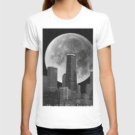Full Moon Over Chicago Illinois Skyline T-shirt