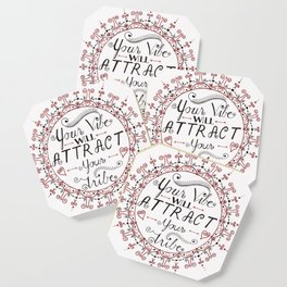 'Your Vibe Will Attract Your Tribe' Quote Mandala Red Coaster