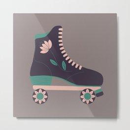 Retro Flower Skate- Purple and Baby Pink Metal Print