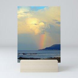 Storm Drops a Rainbow onto Village Mini Art Print