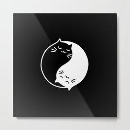 yin yang cats black Metal Print