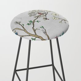 Chinoiserie Panels 1-2 Silver Gray Raw Silk - Casart Scenoiserie Collection Bar Stool