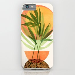 Retro Sunset Garden / Abstract Geometric Landscape iPhone Case