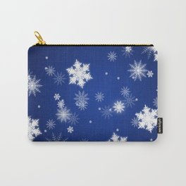 Winter / Christmas Blue and White Snowflakes Carry-All Pouch