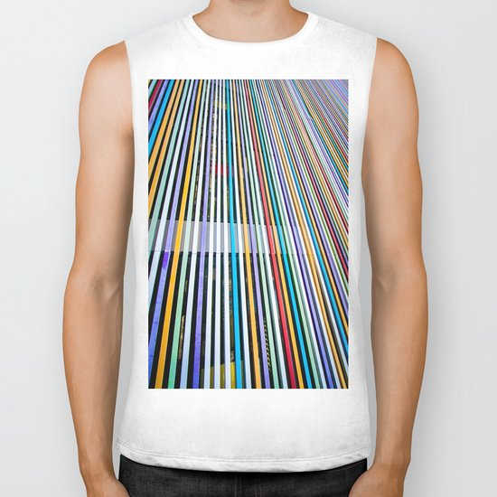 Colored Lines On The Wall Biker Tank