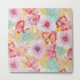 Pastel Floral Print Metal Print