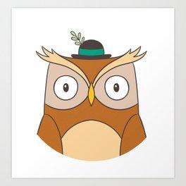 Cartoon Abstract Owl Art Print