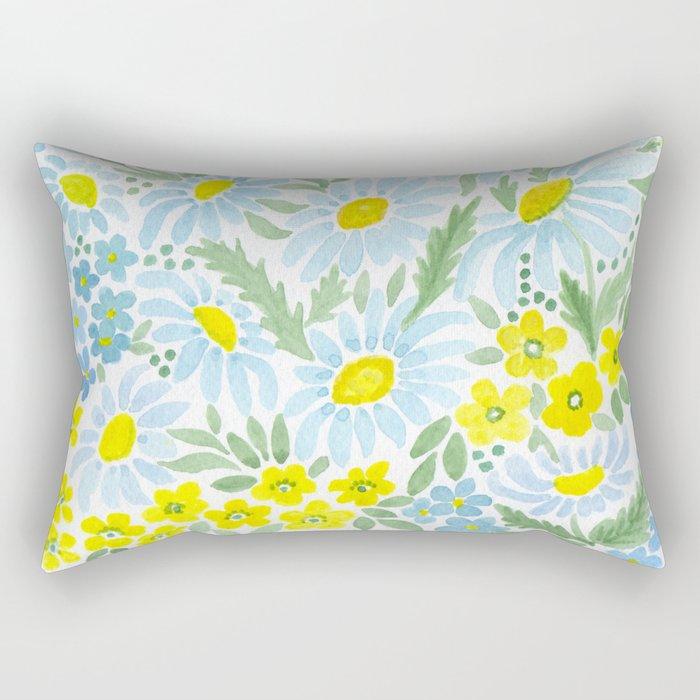 Watercolor . Chamomile field. 1 Rectangular Pillow
