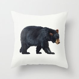 Watercolour Black Bear Drawing Throw Pillow
