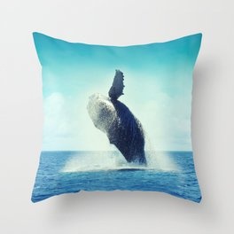 Happy Whale Throw Pillow