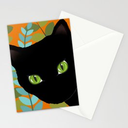 Black Kitty Cat In The Garden Stationery Cards