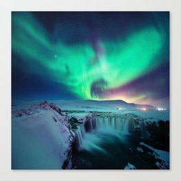 Aurora Borealis Over A Waterfall Canvas Print