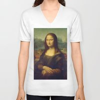 mona lisa V-neck T-shirts featuring Mona Lisa by TilenHrovatic
