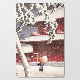 Japanese Art - The Zojo Shrine in Shiba by Kawase Hasui, 1925 Cutting Board