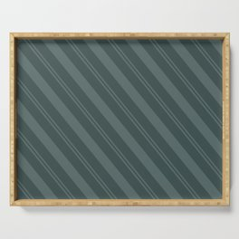 Juniper Berry Green PPG1145-6 Thick and Thin Angled Stripes on Night Watch PPG1145-7 Serving Tray