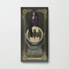 Catwoman in Art Nouveau Metal Print
