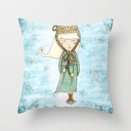 White Tea Girl Throw Pillow