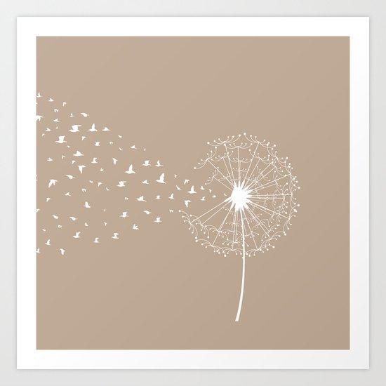 Dandelion and birds - fawn color Art Print