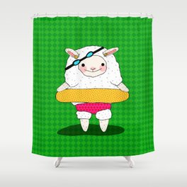 Let's Go To A Pool (Lambie) Shower Curtain