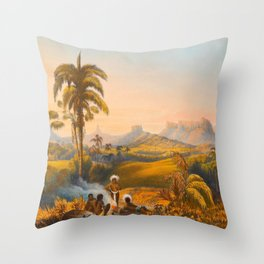 Roraima Mountain Illustrations Of Guyana South America Natural Scenes Hand Drawn Throw Pillow