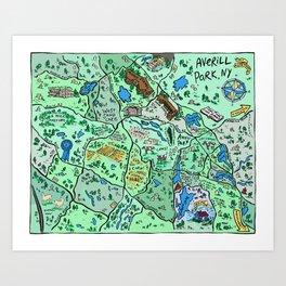 Map of Averill Park, NY Art Print
