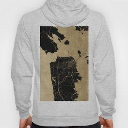 San Francisco California Black and Gold Map Hoody