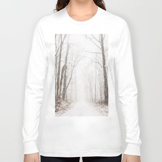 Winter path #photography #society6 Long Sleeve T-shirt
