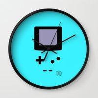 gameboy Wall Clocks featuring Gameboy Blue by ZenthDesigns