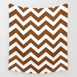 Russet - brown color -  Zigzag Chevron Pattern Wall Tapestry