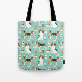 Beagle coffee print cute dog beagles coffees lattes Tote Bag